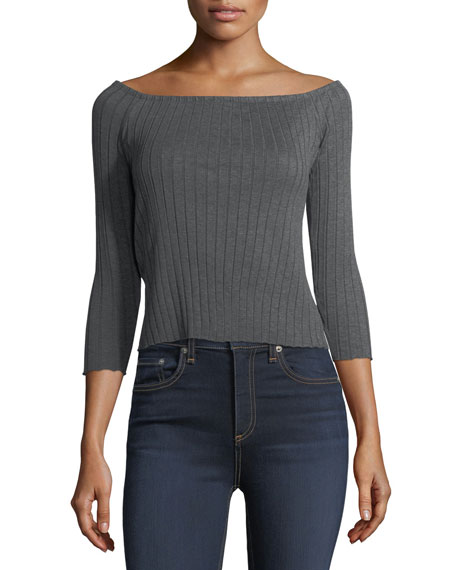 Donna Off-the-Shoulder Ribbed Cotton Top