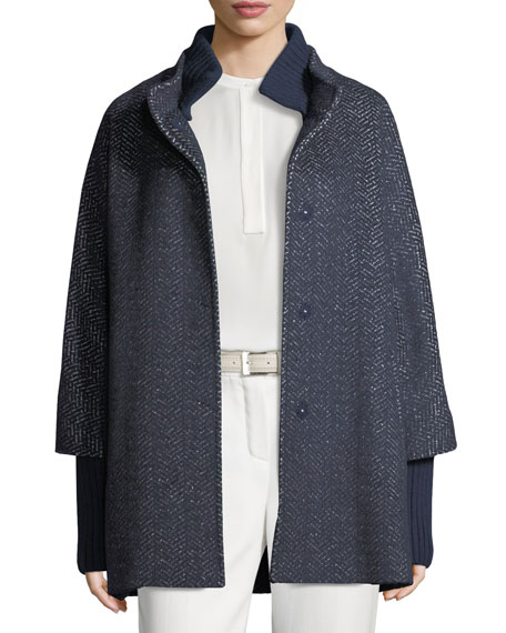 Herringbone Tweed Coat w/Rib Trim