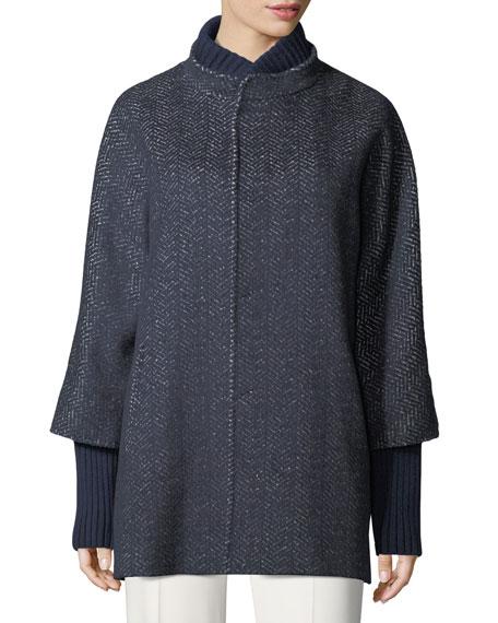 Herringbone Tweed Coat w/Rib Trim