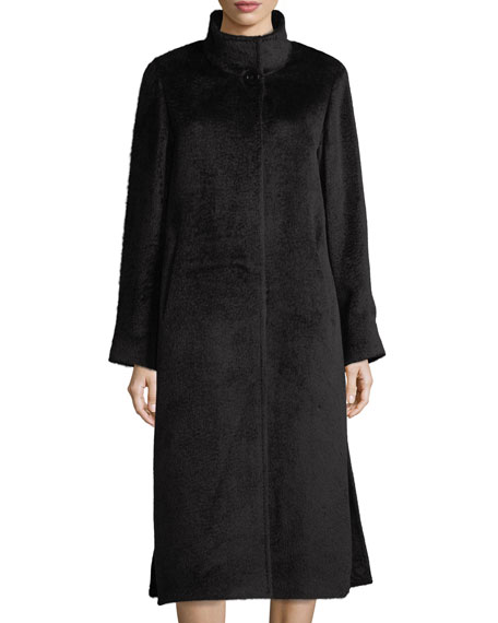 Long Stand-Collar Alpaca-Blend Coat
