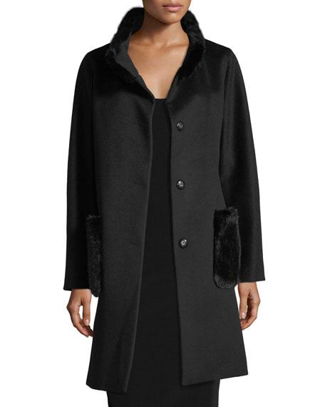 Mink-Trim Wool Cocoon Coat