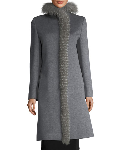Fox Fur-Trimmed Mid-Length Coat