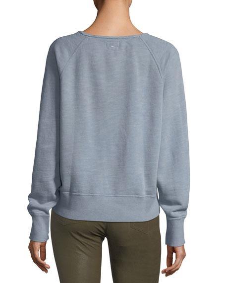Crewneck Long-Sleeve Pullover Cotton Sweatshirt