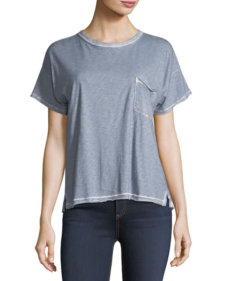 Crewneck Short-Sleeve Vintage Shirt w/ Pocket