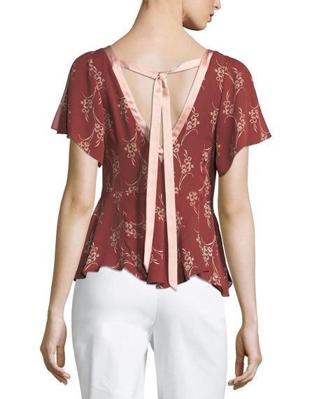 Whitley Floral-Printed Top w/ Satin Trim