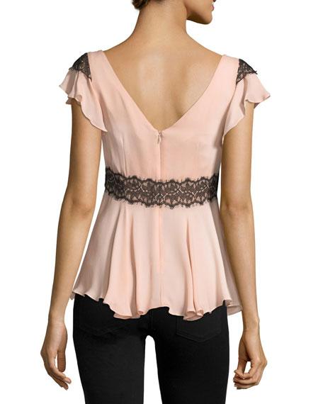 Naeva V-Neck Ruffled Silk Blouse w/ Lace