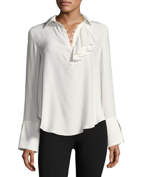 Norla Long-Sleeve Collard Silk Top