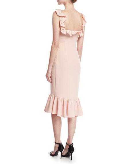Opalina Square-Neck Flounce-Hem Cocktail Dress