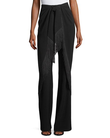 Audrina High-Waist Fringed Wide-Leg Pants
