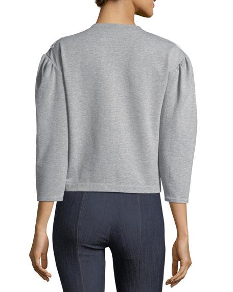 Crewneck Pouf-Sleeve Cotton Sweatshirt w/ Lace