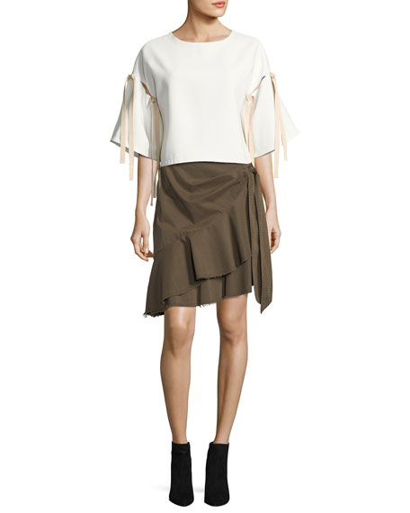 Anson Asymmetric Cotton Wrap Skirt