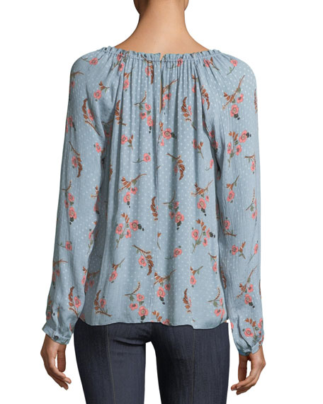 Natalie Off-the-Shoulder Long-Sleeve Floral-Print Top