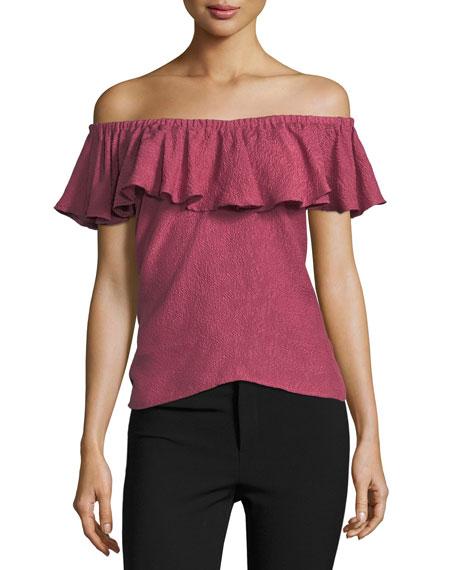 Off-the-Shoulder Rose Jacquard Top
