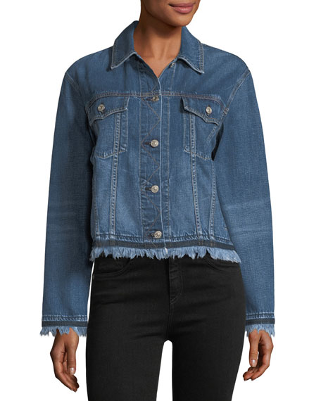 Oversized Button-Front Denim Jacket w/ Fringed Hem