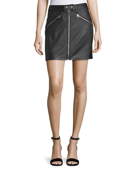 Racer Slim-Fit Zipper Leather Skirt