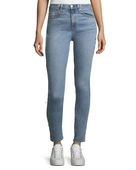 High-Rise Light-Wash Skinny-Leg Jeans