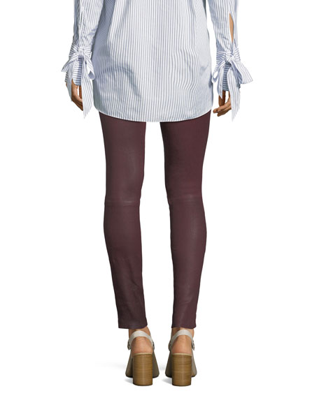 High-Rise Lamb Leather Skinny Pants
