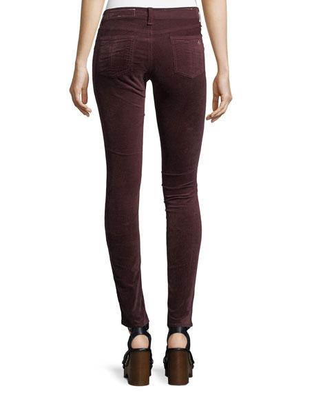 Velvet Mid-Rise Skinny-Leg Pants