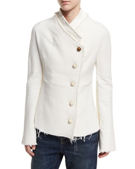 Geisha Wood-Button Wool-Knit Jacket