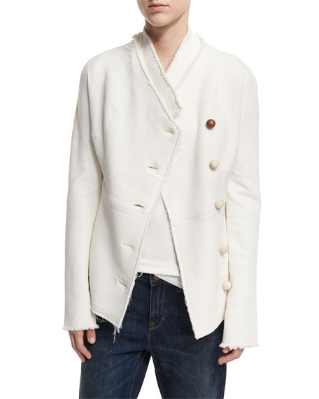 Geisha Wood-Button Wool-Knit Jacket