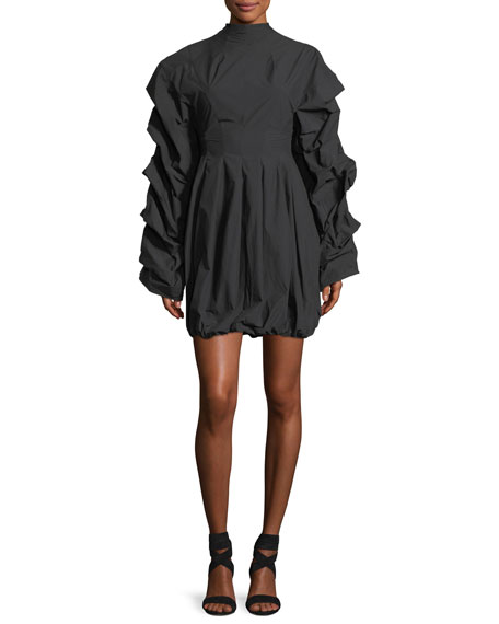 Tendrils & Head Ruched-Sleeves Poplin Dress