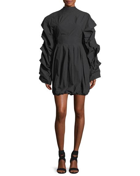 Tendrils & Head Ruched-Sleeves Poplin Dress