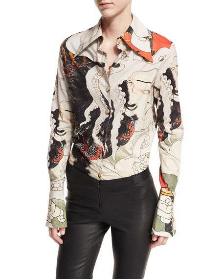 Mr. Octopus Head Long-Sleeve Button-Front Shirt