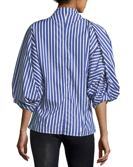 Octopus Geisha Striped Poplin Top