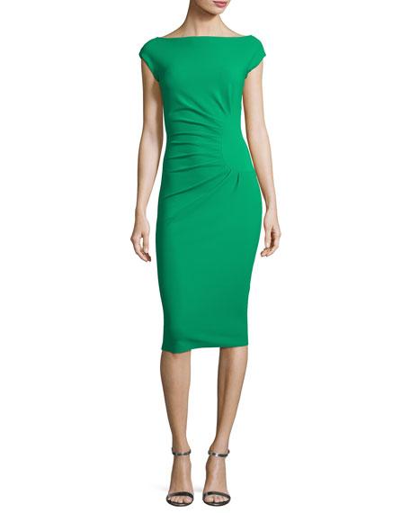 Fumiki Cap-Sleeve Ruched-Side Sheath Dress