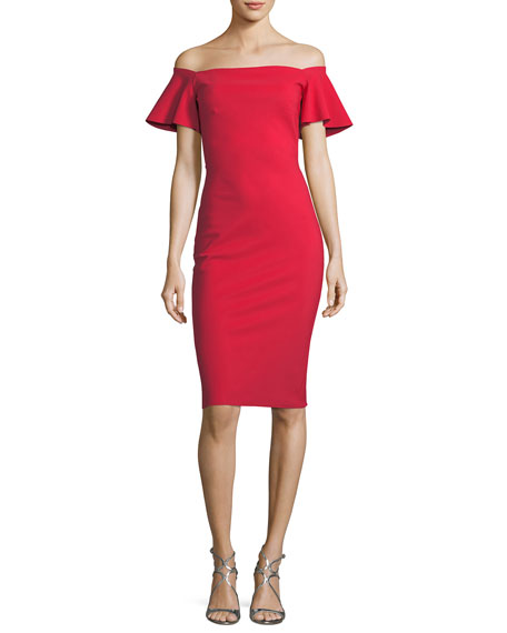 Anselma Off-the-Shoulder Flutter-Sleeve Dress