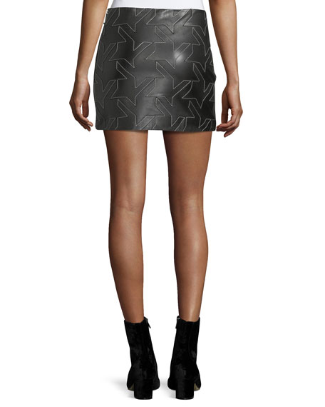 Houndstooth Leather Mini Skirt