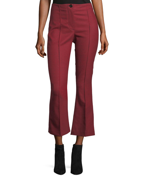 Houndstooth Cropped Flared High-Waist Pants