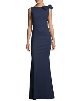 Shoko Bow-Shoulder Sleeveless Evening Gown