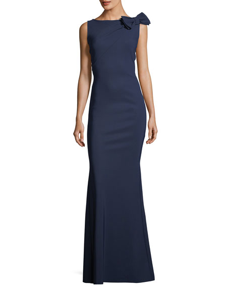 Chiara Boni La Petite Robe Shoko Bow-Shoulder Sleeveless Evening Gown