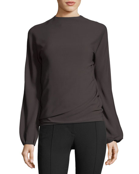 Low-Back Long-Sleeve Draped Top