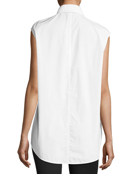 Eyelet Sleeveless Button-Front Poplin Top