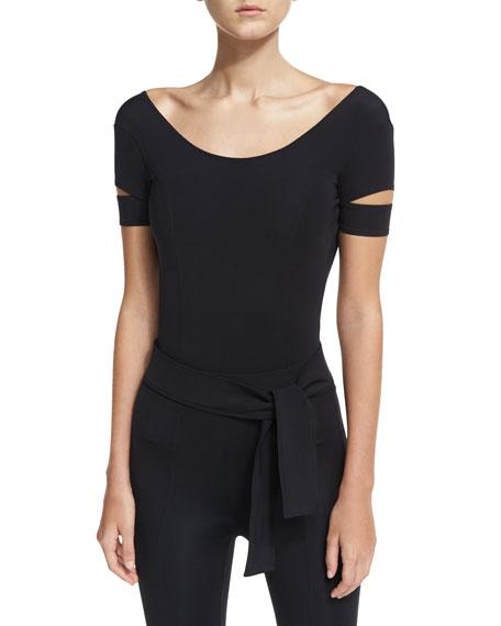 Low-Back Slit-Sleeve Tech Bodysuit
