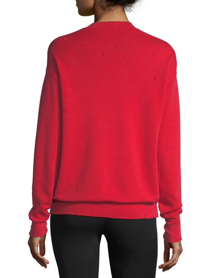 Distressed Garment-Dyed Split-Neck Cotton Sweatshirt
