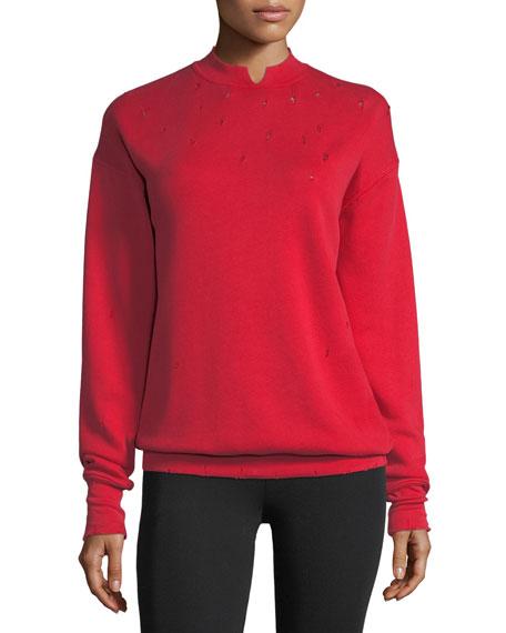 Distressed Garment-Dyed Split-Neck Cotton Sweatshirt