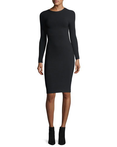 Long-Sleeve Crewneck Tieback Fitted Dress