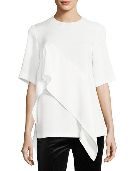 Diane von Furstenberg Short-Sleeve Ruffle-Front Blouse