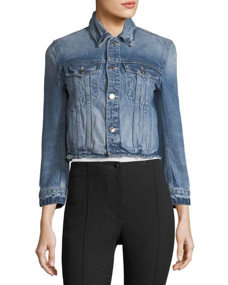 Tacked Shrunken Faded Denim Jacket