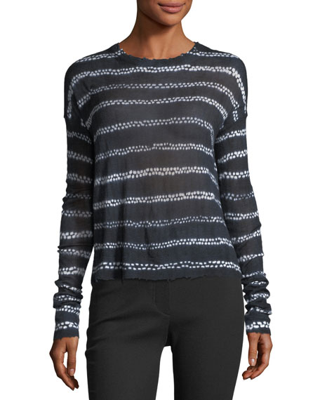 Shibori Long-Sleeve Style Knit Top