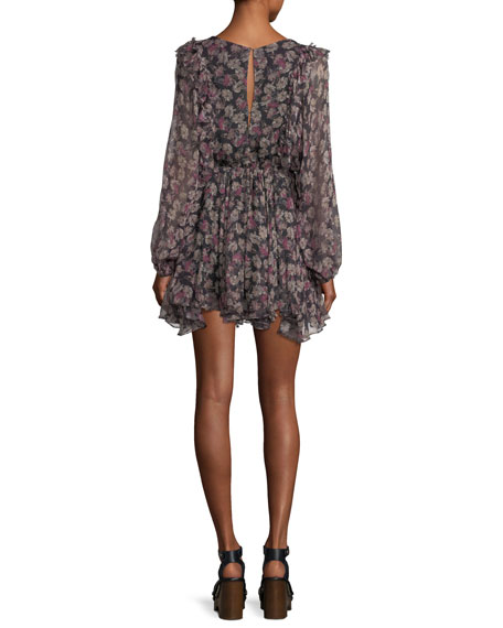 Noelle Ruffled Printed Chiffon Dress