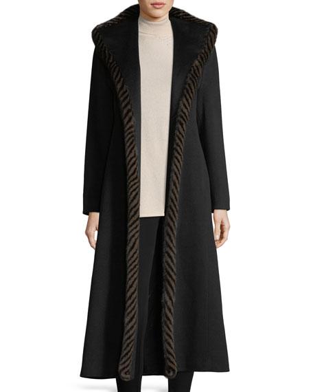 Magnetic Wool Duster Coat w/ Spiral Mink Fur