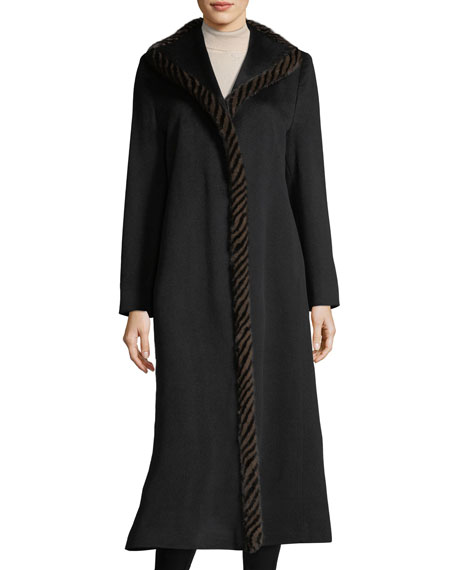 Magnetic Wool Duster Coat w/ Spiral Mink Fur