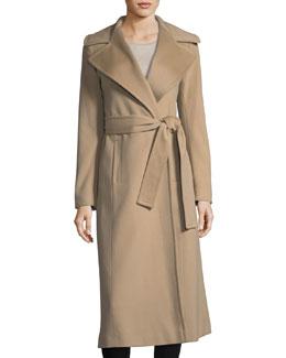 Notch-Collar Cashmere Long Wrap Coat