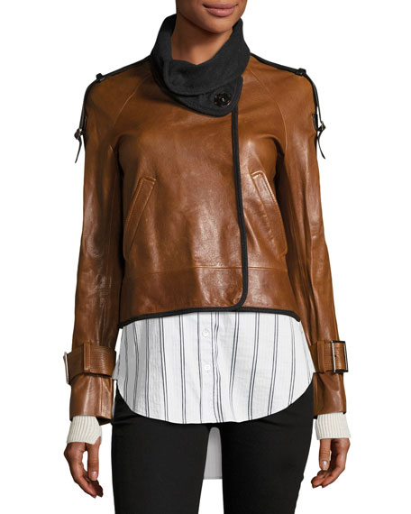 Lafayette Shawl-Collar Snap-Front Leather Jacket