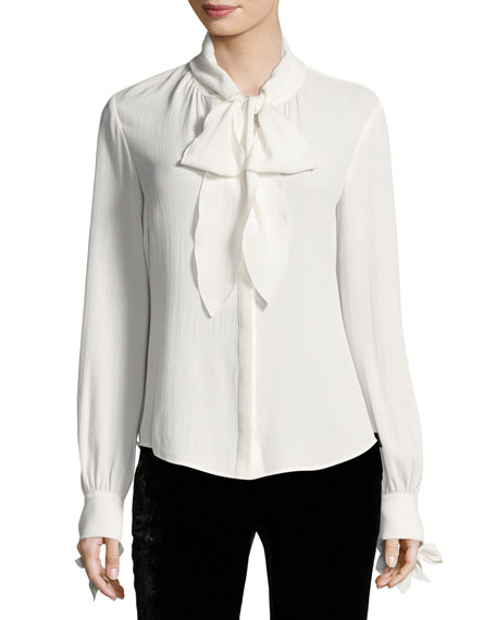 Presley Bow Long-Sleeve Button-Front Blouse