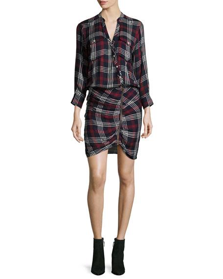 Emory Ruched Cargo Plaid Shirtdress
